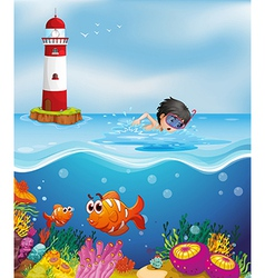 A boy swimming at the beach near the lighthouse vector image vector image