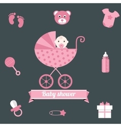 Baby shower icons set girl pink vector