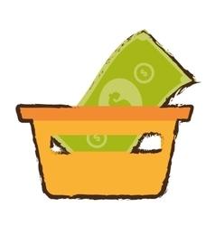 Basket shopping bill money online sketch vector