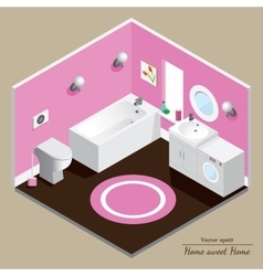 Bathroom 3d interior pink background vector