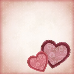 Beautiful hearts on a vintage background vector image