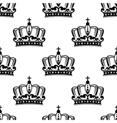 Black and white royal crown seamless pattern vector