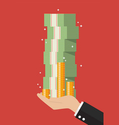 Businessman hand holding cash money vector