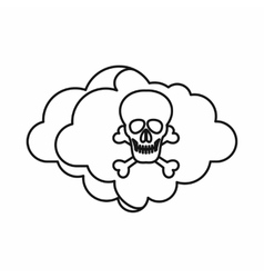 Cloud with skull and bones icon outline style vector