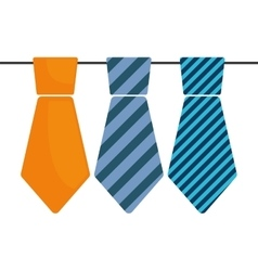 Collection tie with stripes decorative father day vector