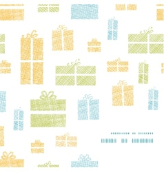 Colorful gift boxes textile texture frame corner vector image