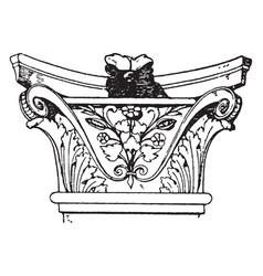 Corinthian pilaster capital pilaster is broader vector