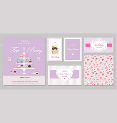 Cute templates with cupcakes stand and sweets in vector