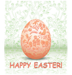 Decorative easter egg on green floral background vector