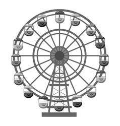 Ferris wheel icon gray monochrome style vector
