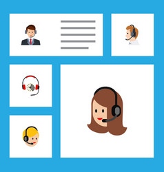 Flat call set of call center service hotline and vector