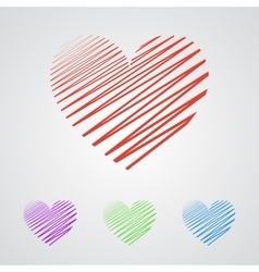 Flat heart applique background vector