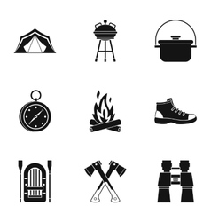 Forest icons set simple style vector