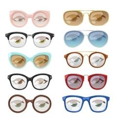 Glasses human eye set vector