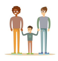 happy gay men posing with their child vector image
