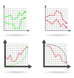 Icons of financial charts vector image vector image