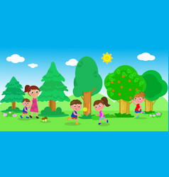 kids playing in nature vector image vector image