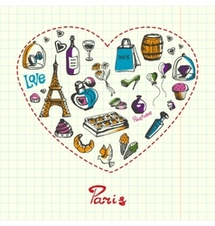 Paris pen drawn doodles collection vector