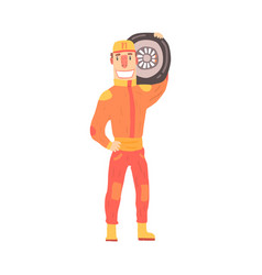 Pit stop technician worker in an orange uniform vector