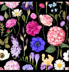 seamless garden flowers vector image vector image