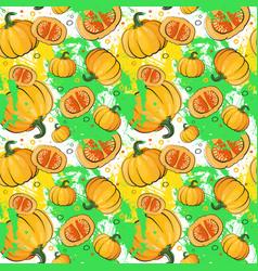 Seamless pattern pumpkin vegetables ornament vector