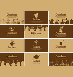 Set of business cards on topic of tea and coffee vector