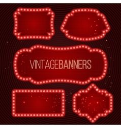Shining retro banner with lights vector