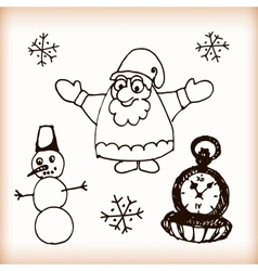Snowman and Santa retro sketch doodles vector image vector image