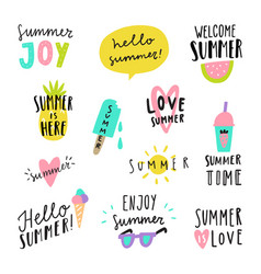 summer lettering stickers vector image