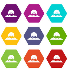 sun and mountain icon set color hexahedron vector image vector image