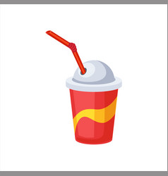 sweet soda drink in paper cup with straw street vector image vector image
