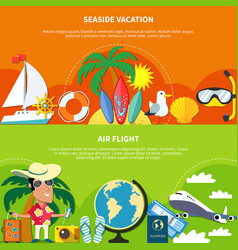 Vacation flat banners set vector