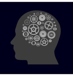 various cogwheels parts in human head - thinging vector image