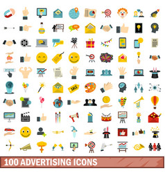 100 advertising icons set flat style vector image