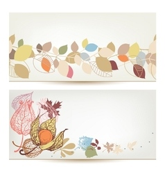 Autumn banners Fall leaves and fruits header set vector image