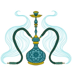 Hookah with arabic pattern and smoke vector