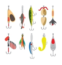 Fishing bait flat icons vector image