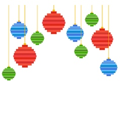 Pixel art christmas tree ball composition vector