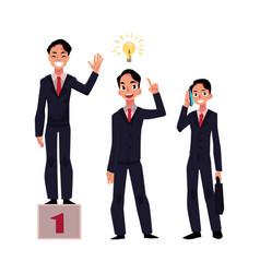 Businessman achieves success has insight calls vector