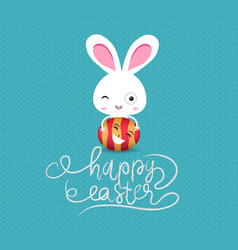 happy easter eggs and bunny funny vector image