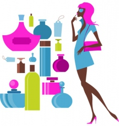 Urban shopping girl cosmetics vector