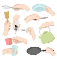 Restaurant kitchen ware human hands cooking food vector