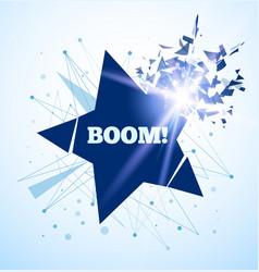Star crash big boom light and debris vector