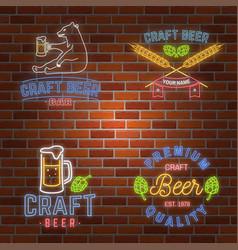 Set of neon signboard craft beer bar vector