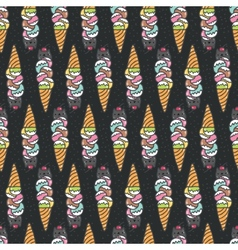 Seamless pattern with cute doodle cat ice cream vector