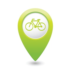 bicycle icon on map pointer green vector image