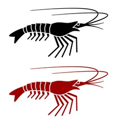 Shrimp silhouette vector