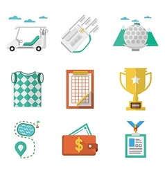 Colored icons for golf vector