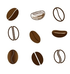 Nine coffee beans in different styles vector
