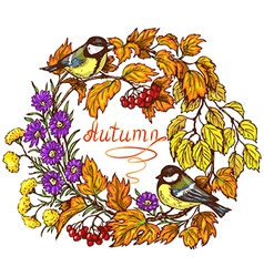 Autumn frame in color vector